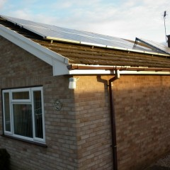 Solar panels on the roof of a Bungalow in Kesgrave
