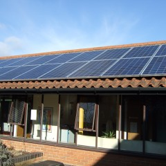 Solar panels on roof or Combs Ford Primary School