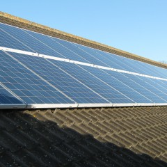 Solar panels on the roof of Sir Robert Hitcham Primary School