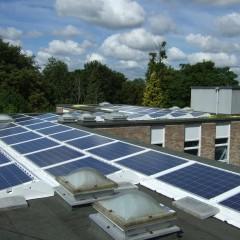 Solar panels on roof at Hampden House Hostel