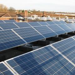 Solar panels on roof of Kirkley Community High School