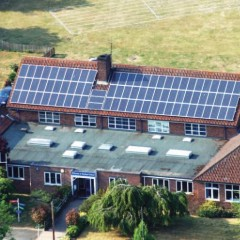 Solar panels on the roof at Nayland Primary School