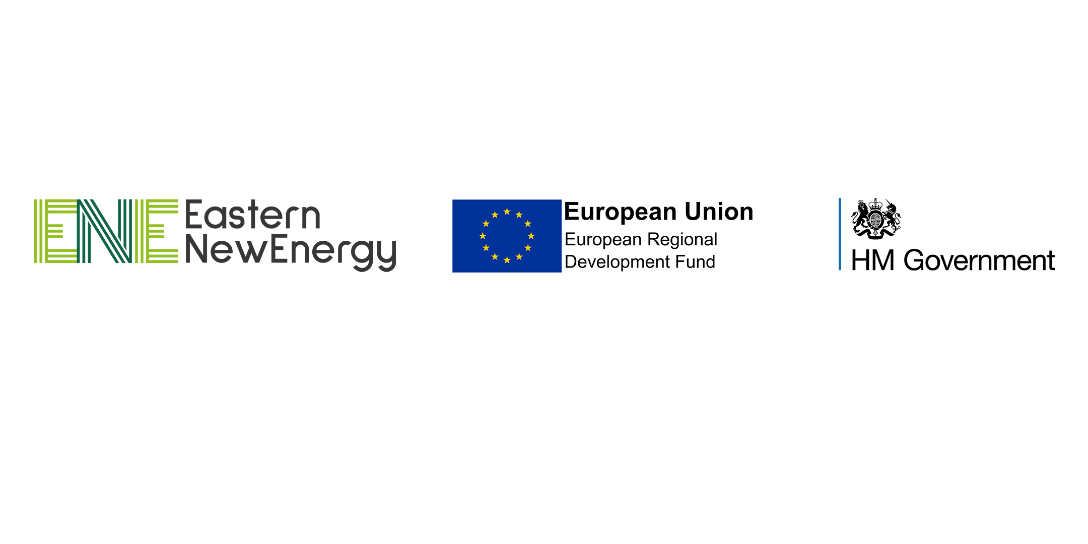 Eastern New Energy, European Regional Development Fund and HM Government logos